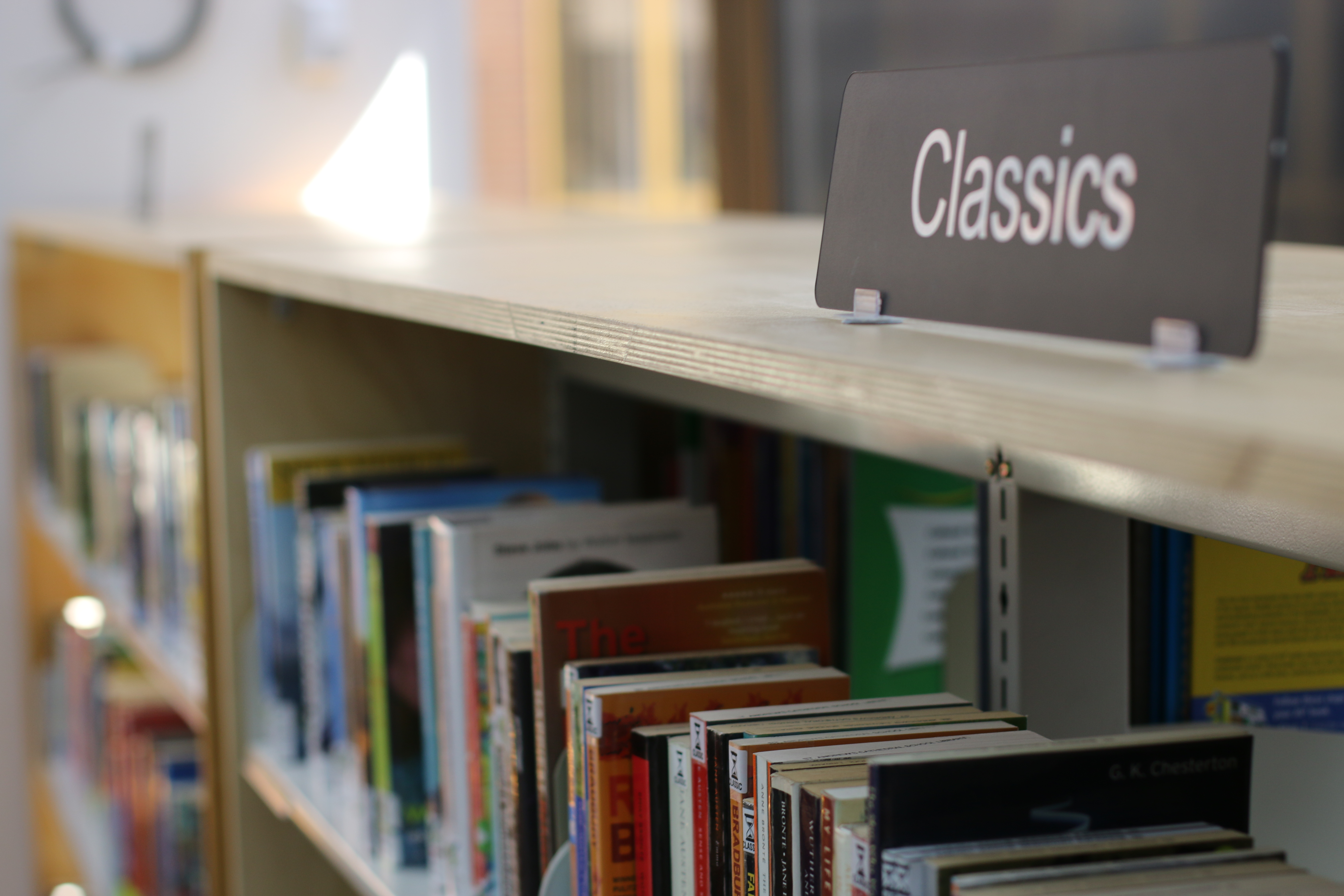 Books are arranged by genre at SACS Library